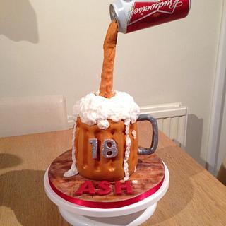 Budweiser gravity cake