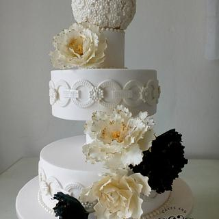 Cascading peonies - Cake by Dawn Booth Sugarcraft Artist