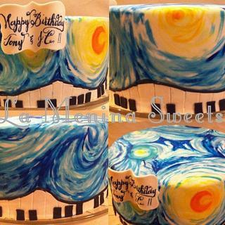 Claire de Lune & Starry Night mash up - Cake by Cristi