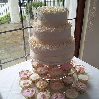 Wedding cake and cupcakes - Cake by Katescakes