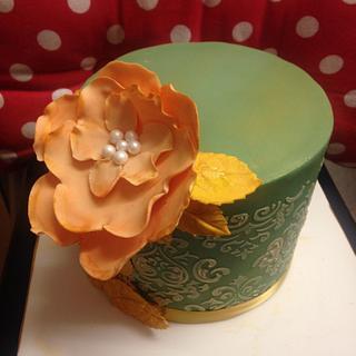Green damask cake