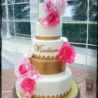 Modern Quinceañera Cake - Cake by Sandrascakes