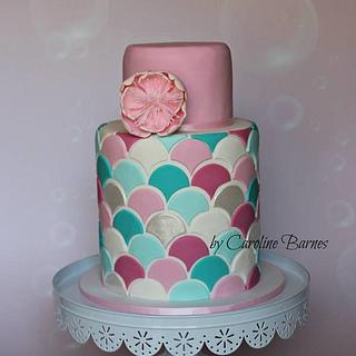 Double barrel cake with scales pattern