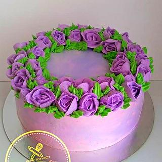 purple roses cake