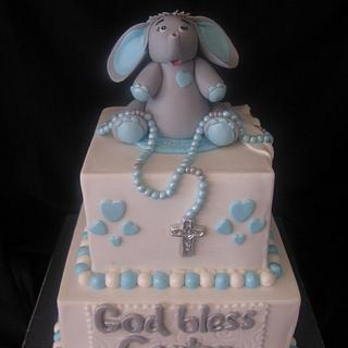 Blue white and grey baptism cake
