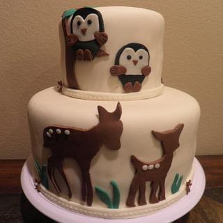 Woodsy baby shower Cake