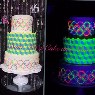 Black light Sweet Sixteen Cake