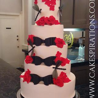 Red roses, dragonflies, and bowties