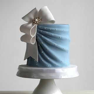 Simple Blue Bridal Shower Cake