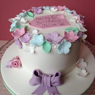 Simple 60th floral cake