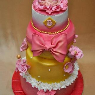 Pink cake for a newborn baby girl