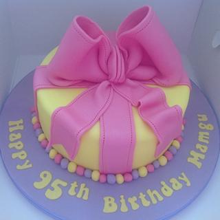 Large bow birthday cake