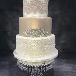 Antique Champagne wedding cake