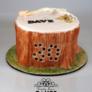 Tree Stump Deer Hunting Cake - Cake by Kristy How