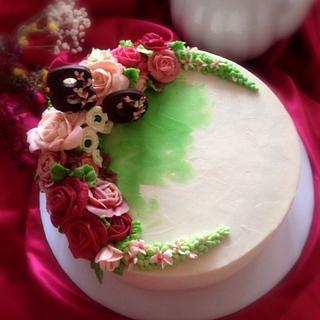 Cream Flowers Cake