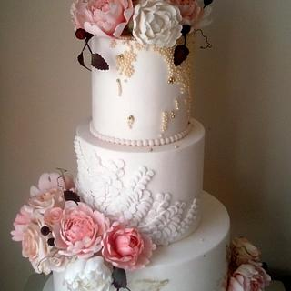 Vintage pink peony - Cake by Malberry Cakes