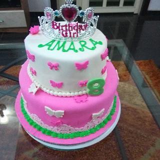 2tier - girl birthday cake - Cake by Simplyjaneus