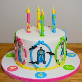 Joint 4th Birthday cake, Frozen, Ben 10, Batman and Mr Impossible!