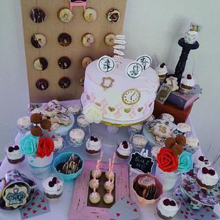 Vintage cake +sweet table
