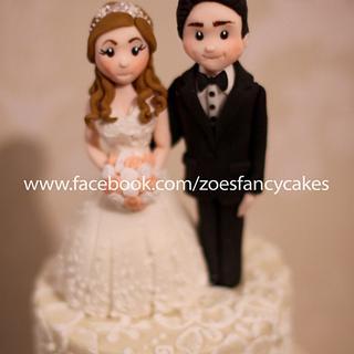 Brush embroidery wedding cake - Cake by Zoe's Fancy Cakes