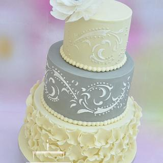 Wedding cake in cream and grey colour