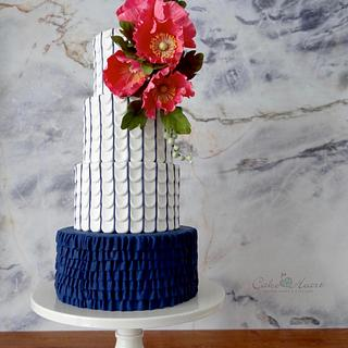 poppies, petals and pinstripes  - Cake by Cake Heart