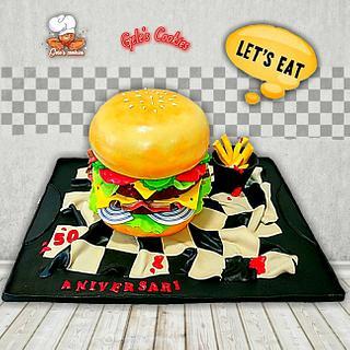Burger cake by Gele's Cookies