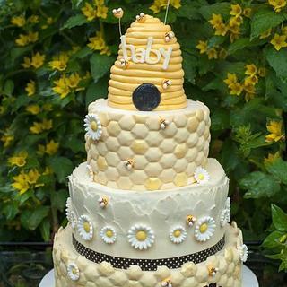 Baby Bee Shower Cake