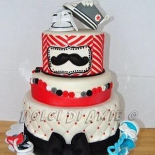 My first 3 tiered cake, mustache baby shower