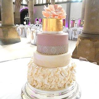 Gold Leaf Peony Rose & Vintage Lace Wedding Cake