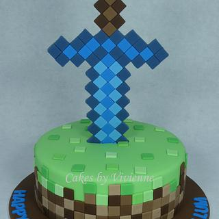 Minecraft Diamond Sword Birthday Cake - Cake by Cakes by Vivienne