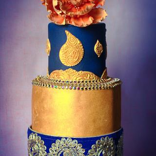 Navy blue and vintage good wedding cake  - Cake by Ancy