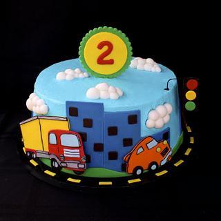 Vehicles Cake - Cake by Cuteology Cakes