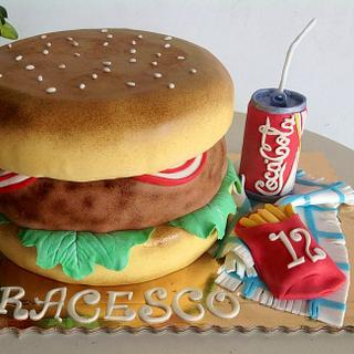 Hamburgers french fries and cola