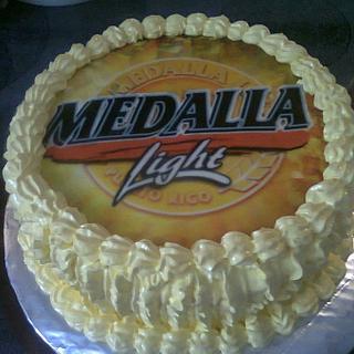 Medalla Beer Fondant Topper Birthday Cake
