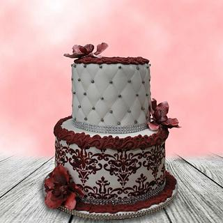 Red Stenciled Cake