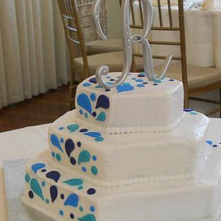 Splash wedding cake