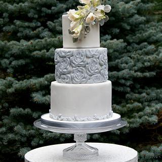 Gray and white winter wedding cake