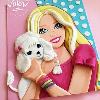 Barbie, 2D fondant cake decoration