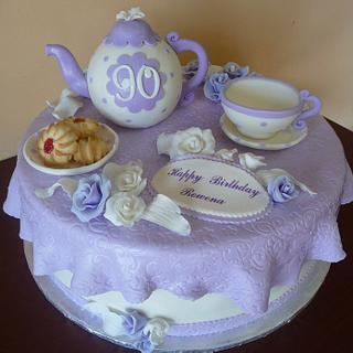 Tea Party Cake for 90th Birthday