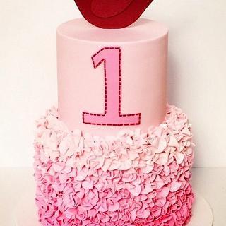 Pink Ruffle 1st Birthday Cake - Cake by Olivia's Kitchen
