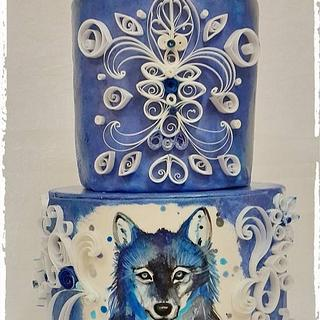 Quilled painted wolf cake