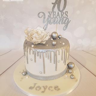 Silver Drip Birthday Cake