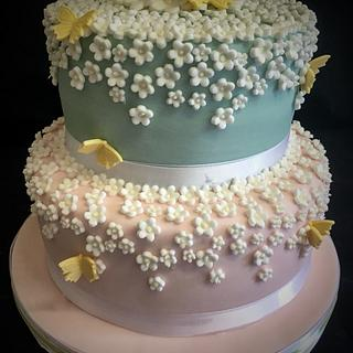 White flower and butterfly cake
