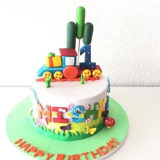 Choo choo colorful train cake  - Cake by morningglorycakes