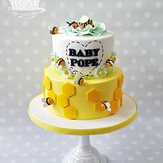 Baby Bee baby shower cake