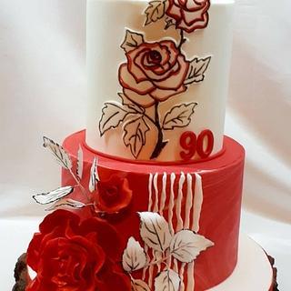 Birthday cake in white red