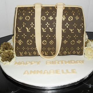 Louis Vuitton style bag cake