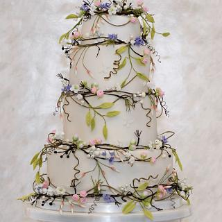 Country Flowers Wedding Cake