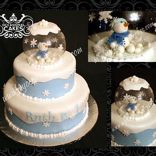 Snowglobe 1st Birthday Cake